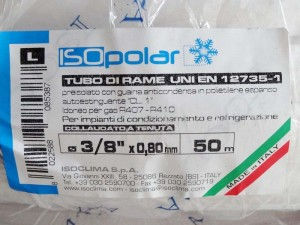 "PRE-INSULATED COPPER TUBE 3/8""- 0,8mm 50m ISOCLIMA"