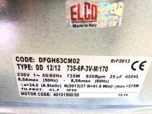 Centrifugal fan DD 12/12 735-6-3V-M/170 ELCO