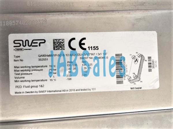HEAT EXCHANGER QA80H-68-1P-SC swep